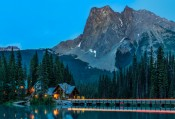 Night falls over Emerald Lake Lodge