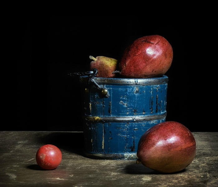 Blue Bucket, Red Ball, & a Bunch of Pears