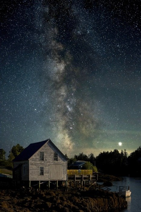Maine Boathouse Under the Milky Way
