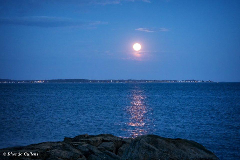 Flagpole Moonrise over Lighthouse