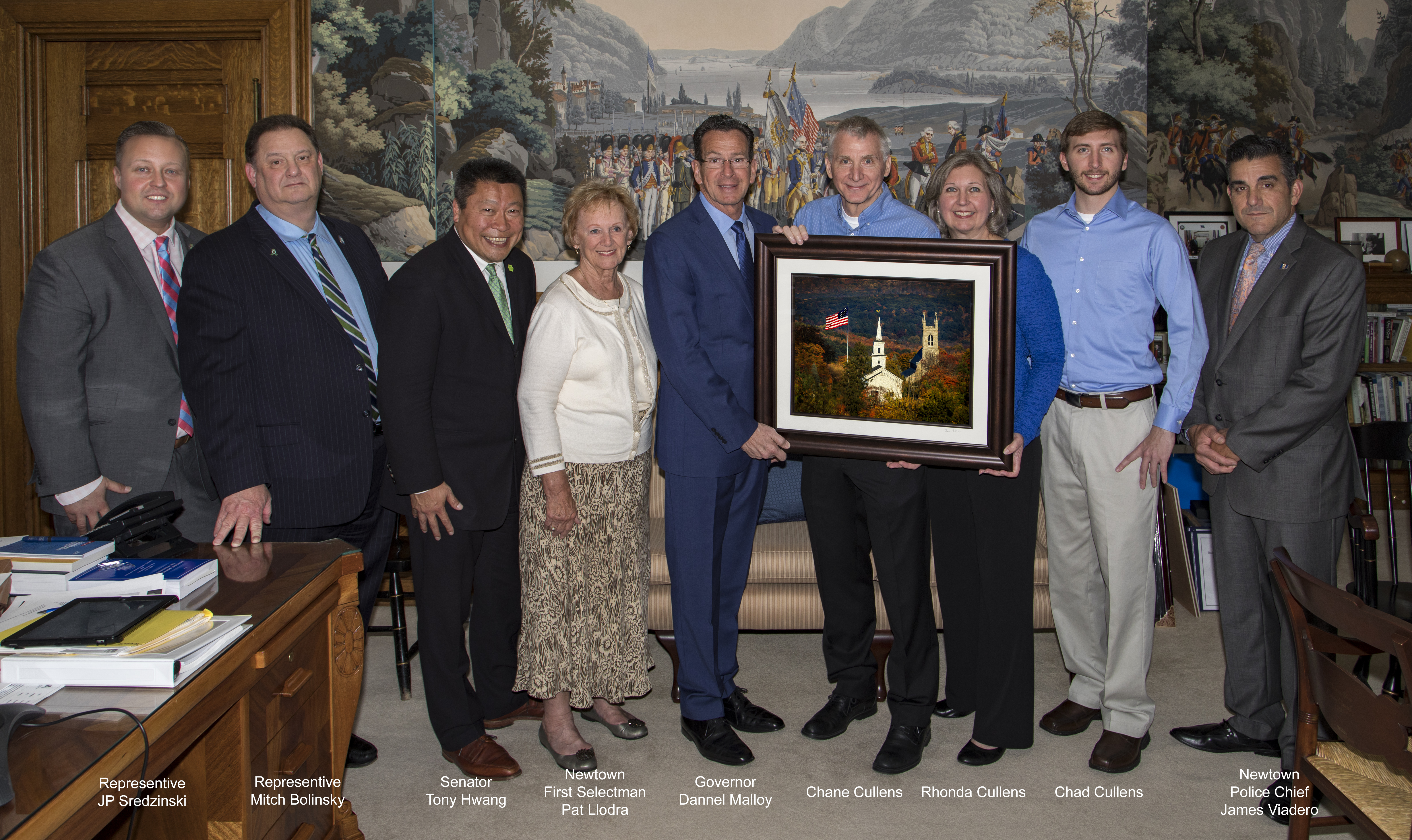 Flagpole Members Present Photo of Newtown to Gov. Malloy